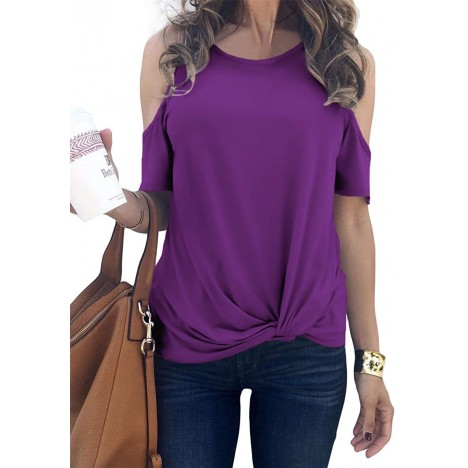 MODARANI Cold Shoulder Tops for Women Knot Twisted Casual Solid Color Shirts Tunic Tops Comfy Loose Fit at Women's Clothing store