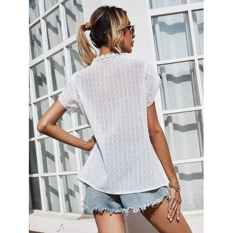 SheIn Women's Petal Short Sleeve V Neck Lace Trim Solid Blouse Shirt Tops at Women's Clothing store