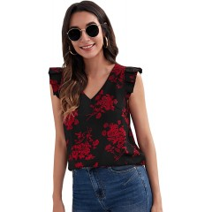 SheIn Women's Sleeveless Floral Print Blouse Top Notched Neck Lace Trim Shirts at  Women's Clothing store