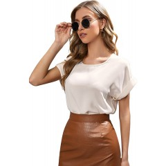 SOLY HUX Women's Casual Short Sleeve Color Block Striped Work Blouse Top at Women's Clothing store