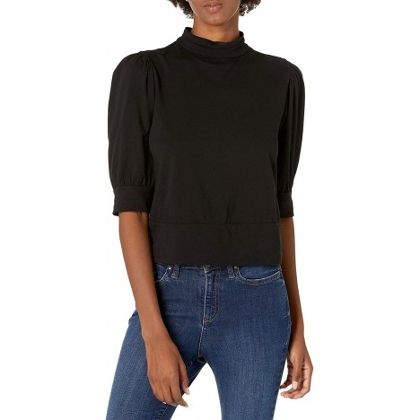 Velvet by Graham & Spencer Women's Jodee Sueded Jersey Mock Neck Puff Sleeve Top at Women's Clothing store