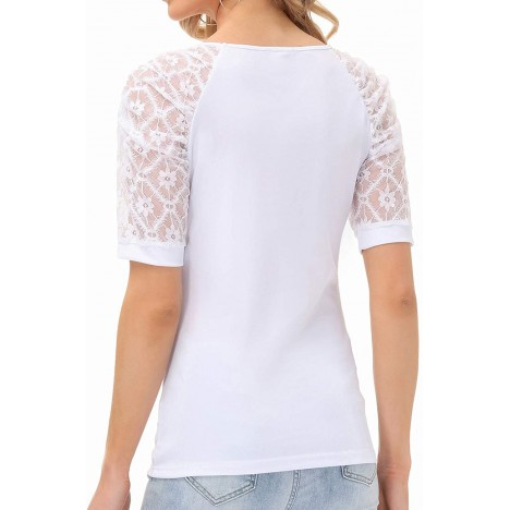 Women's Summer Tops Lace Puff Shirts Sexy V Neck Blouses Casual T-Shirt at Women's Clothing store