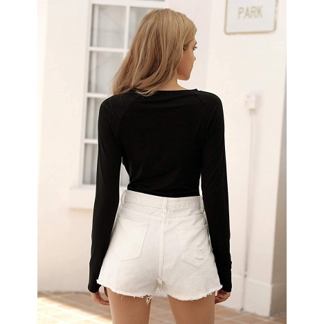 Blooming Jelly Women Long Sleeve Bodysuit Round Neck Basic T Shirt Cut Out Jumpsuit Tops