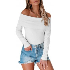REORIA Sexy Off Shoulder Long Sleeve Ribbed Knit Bodycon Jumpsuit Stretchy Leotard Bodysuit Sweaters Tops