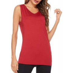0000 Women's Casual Tank Tops V Neck Sleeveless Shirts Summer Loose Tunic Blouses Basic Solid Sexy Cami at Women's Clothing store