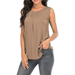 AMCLOS Womens Twist Front Tops Sleeveless Tunic Summer Casual Soft T-Shirts Scoop Cutout Back Tanks at Women's Clothing store