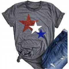 American Flag Shirt Women Stripes and Stars USA Patriotic T Shirts July 4th Graphic Tee Short Sleeve Tops at Women's Clothing store