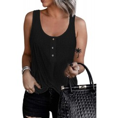 FARYSAYS Women's Summer Henley Tank Tops Scoop Neck Button Front Casual Sleeveless Blouses Shirts Black Medium at Women's Clothing store