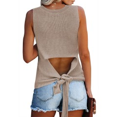 Pink Queen Women's Sleeveless Casual Knit Tie Top Cut Out Camis Tank Crew Neck Shirts at Women's Clothing store