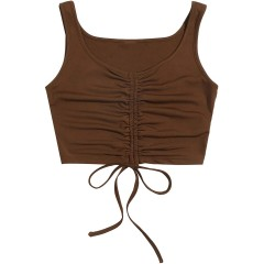 Verdusa Women's Ruched Drawstring Knot Front Sleeveless Solid Tank Crop Top at Women's Clothing store