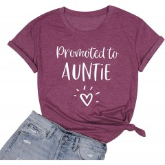ASTANFY Auntie T Shirt Women Promoted to Auntie Letter Print Aunt Gift Tee Casual Short Sleeve Shirts