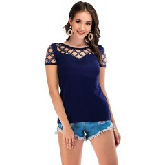 Double Chic Women's Casual T Shirts Hollow Out Crew Neck Short Sleeve Tops at Women's Clothing store