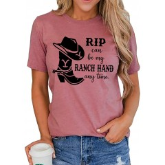 Rip Can Be My Ranch Hand Any Time T-Shirt Womens Casual Country Music Graphic Tees Short Sleeve Tops at Women's Clothing store