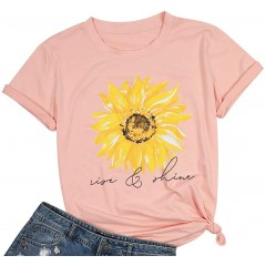 Rise and Shine Shirt Farm Country Casual Shirt Top for Women Sunflower Graphic Tee Shirts Top