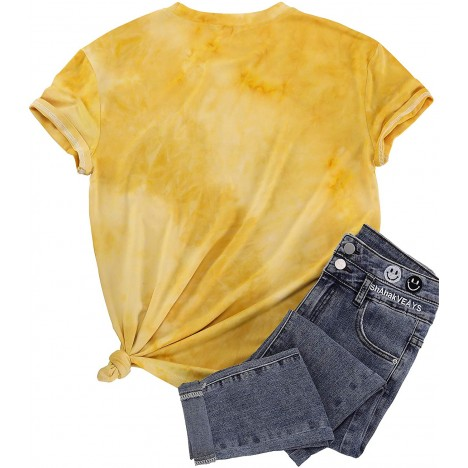 Sunflower Shirt for Womens Flower Tie-Dye Graphic Tee Shirt Teen Girls Casual Floral Shirt Top at Women's Clothing store