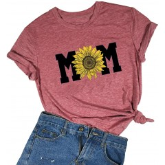 Sunflower T-Shirt Womens Cute Mom Life Shirt Funny Daisy Print Short Sleeve Graphic Tee Casual Tops at Women's Clothing store