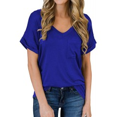 Women's V-Neck Short Sleeve Shirts Loose Casual Basic Tee T-Shirt Cute Tops at Women's Clothing store