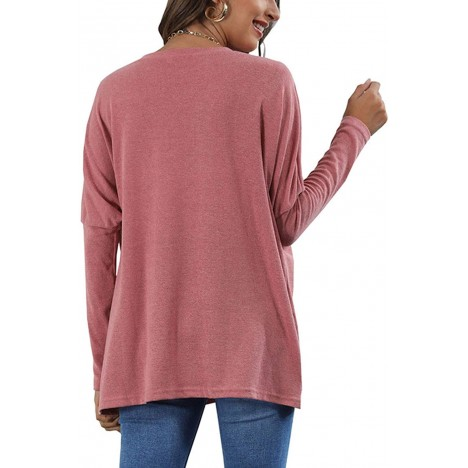 Cuijucu Women's Long Batwing Sleeve Pullover Tunic Tops Casual Round Neck T-Shirts with Pockets at Women's Clothing store