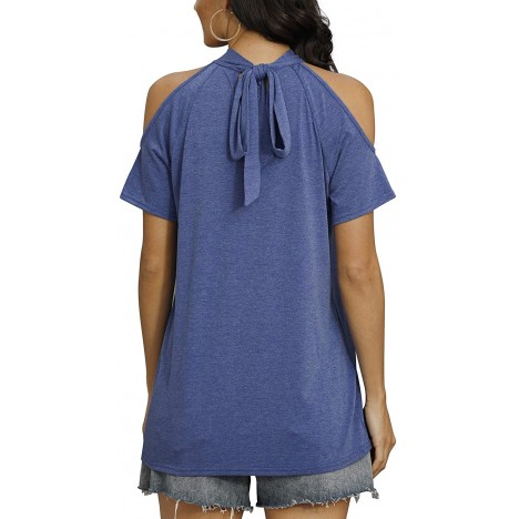 Davenil Womens Cold Shoulder Tops Straps Short Sleeve Blouses TShirts Loose Fit Summer Tunic Tee Navy Size S at Women's Clothing store