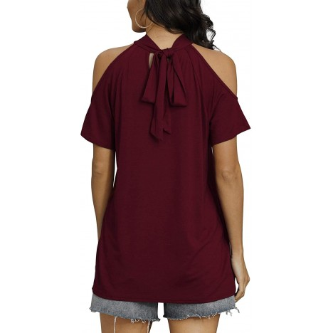 Davenil Womens Cold Shoulder Tops Straps Short Sleeve Blouses TShirts Loose Fit Summer Tunic Tee Wine Red Size XL at Women's Clothing store