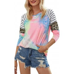 EFAN Women's Casual Tie Dye Shirts Leopard Striped Tunic Long Sleeve Crewneck Color Block Tops at Women's Clothing store