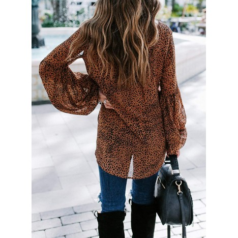 Happy Sailed Womens Casual Tie Up V Neck Top Lantern Sleeve Blouse Loose Leopard Shirts High Low Tunic S-XXL