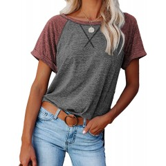 Women Casual Comfy Pullover Side Split Loose Raglan T-Shirt Tunic Tops at Women's Clothing store