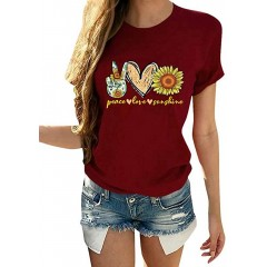 Ferrtye Womens Sunflower Cute Graphic T Shirts Loose Fit Short Sleeve Crewneck Casual Summer Tees at Women's Clothing store