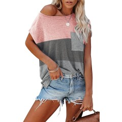 ReachMe Womens Trendy Triple Color Block Cap Sleeve Tshirts Casual Loose Summer Tee Tops with Pocket at Women's Clothing store