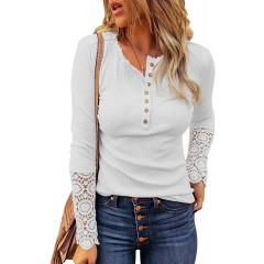 ROSKIKI Women's Scoop Neck Buttoned Front Long Sleeve Knitted Top