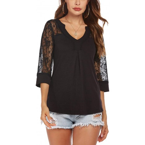 SoTeer Women's Lace Tops Sexy V Neck Tunic 3 4 Sleeve Casual Loose Blouse Shirts